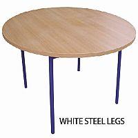 Round Preschool Table Beech White Steel Legs W 1200 x D 500mm  #PSD