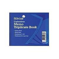 """Silvine Blue 4x5"""" Carbonless Triplicate Memo Book Pack of 5 707"""