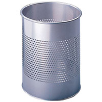 Perforated Waste Office Bin Open Top Silver 15L