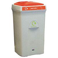 Recycling Bin Plastic Bottles 100 Litre Grey/Orange 124609