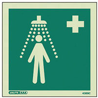 Photoluminescent First Aid Location Sign Emergency Shower HxW 150X150mm