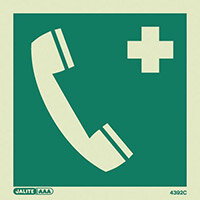 Photoluminescent First Aid Location Sign First Aid Telephone HxW 150X150mm