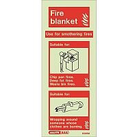 Photoluminescent Rigid Plastic Sign 200X80mm Fire Blanket