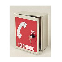 Small Telephone Cabinet Red door with white logo