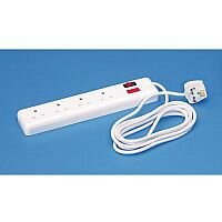 Heavy Duty Switched Four Line 5 Metre Trailing 4 Sockets