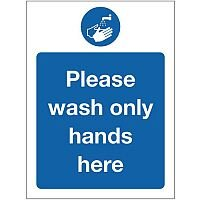 Self Adhesive Vinyl Food Processing And Hygiene Sign Please Wash Only Hands Here