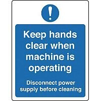 Self Adhesive Vinyl Food Processing And Hygiene Sign Keep Hands Clear When Machine Is Operating