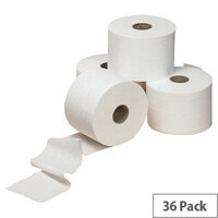 White Toilet Tissue Paper Rolls 320 Sheet 2 Ply Pack of 36