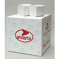 Andarta Dispenser White Folded Bulk Toilet Paper 2-Ply Tissues Sleeves 30 Each 252 Sheets per Sleeve