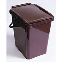 Kitchen Compost Caddy Bin Brown 10L -  Ergonomic and Stylish Kitchen Caddy -  Hinged lid with a central locking mechanism - easy way to keep your food waste separate for composting