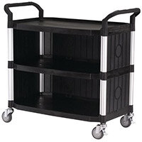 Plastic Utility Tray Trolley With Open Sides And Ends 3 Tier Black Shelves Capacity 250kg