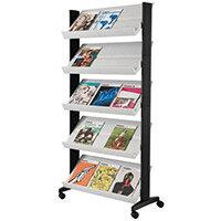 Standard Mobile Literature Display Shelving Unit Grey
