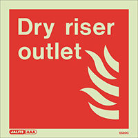 Photoluminescent Fire Fighting Equipment Notices Dry Riser Outlet HxW 150x150mm