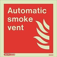 Photoluminescent Fire Fighting Equipment Notices Automatic Smoke Vent HxW 150x150mm