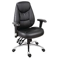 Portland Leather Look Office Chair With 3 Lever Adjustment Mechanism & Arms Black