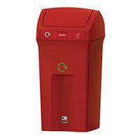 "Recycling Bin 100L Cavalier Flip Top With ""Plastic Bottles"" Label Red"