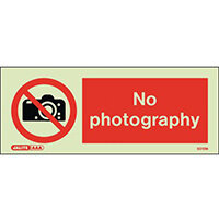 Photoluminescent Rigid Plastic Sign 200x80mm No Photography