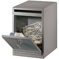 Under Counter Deposit Safe 11L Capacity Grey Two Key Lock