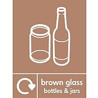 Waste Recycling Signs Brown Glass Bottles