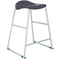 Titan Classroom Stool Size 3 445mm Seat Height (Ages: 5-7 Years) Polly Lipped Seat With Skid Base Charcoal T90-C - 10 Years Manufacturer's Warranty