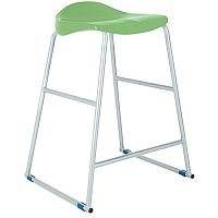Titan Classroom Stool Size 3 445mm Seat Height (Ages: 5-7 Years) Polly Lipped Seat With Skid Base Green T90-GN - 10 Years Manufacturer's Warranty