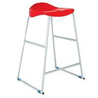 Titan Classroom Stool Size 3 445mm Seat Height (Ages: 5-7 Years) Polly Lipped Seat With Skid Base Red T90-R - 10 Years Manufacturer's Warranty