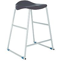 Titan Classroom Stool Size 4 560mm Seat Height (Ages: 7-9 Years) Polly Lipped Seat With Skid Base Charcoal T91-C - 10 Years Manufacturer's Warranty