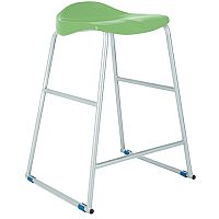 Titan Classroom Stool Size 4 560mm Seat Height (Ages: 7-9 Years) Polly Lipped Seat With Skid Base Green T91-GN - 10 Years Manufacturer's Warranty