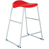 Titan Classroom Stool Size 4 560mm Seat Height (Ages: 7-9 Years) Polly Lipped Seat With Skid Base Red T91-R - 10 Years Manufacturer's Warranty