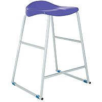 Titan Classroom Stool Size 5 610mm Seat Height (Ages: 9-13 Years) Polly Lipped Seat With Skid Base Blue T92-B - 10 Years Manufacturer's Warranty