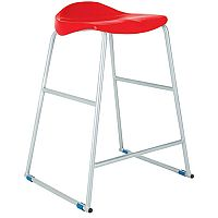 Titan Classroom Stool Size 6 685mm Seat Height (Ages: 13+ Years) Polly Lipped Seat With Skid Base Red T93-R - 10 Years Manufacturer's Warranty