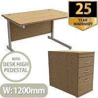 Office Desk Rectangular Silver Legs W1200mm With 800mm Deep Desk High Pedestal Urban Oak Ashford