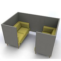 Meeting Pod TRYST 4 Seater Grey & Green STK30