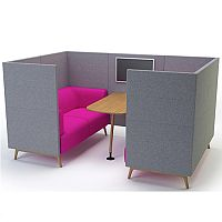 Meeting Pod TRYST 4 Seater Grey & Claret STK8