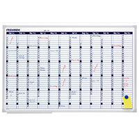 Franken Annual Planner 900 x 600mm - 58 x 14mm Day Grid, Magnetic, Dry Marker, Accessory Kit, Horizontal Layout, Aluminium & Wall Mountable (VO-12)
