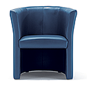 Tub Armchair Leather Look Aqua Blue Vancouver Round