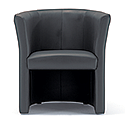 Tub Armchair Leather Look Black Vancouver Round