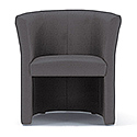 Tub Armchair Grey Fabric Vancouver Round