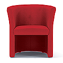 Tub Armchair Red Fabric Vancouver Round