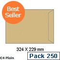 White Box C4 Envelope Manilla 80gsm Pocket Press Seal (Pack of 250)