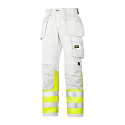 Snickers 3234 Painters High-Vis Trousers Class 1 White/Hi-Vis Yellow