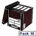 Fellowes Bankers Box Premium 726 Tall Archive Storage Box Woodgrain Pack 10