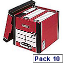 Fellowes Bankers Box Premium 726 Tall Archive Storage Box Red and White Pack 10