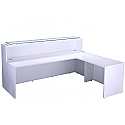 White High Gloss Reception Unit 2200mm Length with Side Return For Additional Workspace & Storage