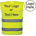 Custom Branded High Visibility Vest - Can Be Printed With Your Logo or Personalised Text - One Size Fits All